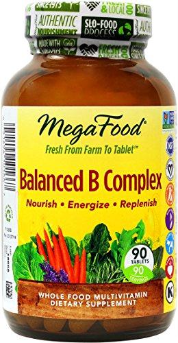 MegaFood - equilibrada del complejo B, promueve la energía y la salud del sistema nervioso, 90 tabletas (envasado de alta calidad)