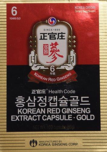Cápsulas de extracto de Ginseng Rojo de Corea KGC Cheong Kwan Jang (100 cápsulas)