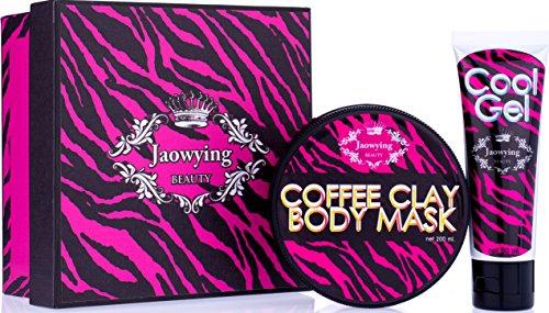 (1 juego de 2 pzas.) Jaowying belleza jengibre mascarilla caliente cuerpo de arcilla café mezclado / reducción de celulitis, grasa y reafirmante para (brazos, Abdomen, muslos) / neto 7.05 onzas 200 G.