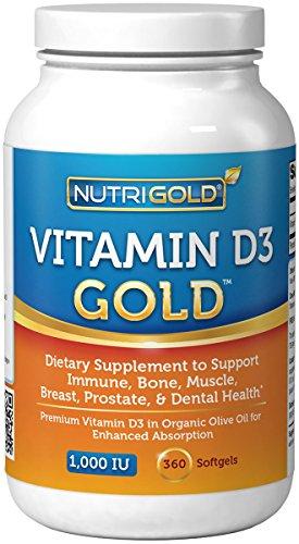 Vitamina D3 1000 UI, perlas Mini 360 (OGM, sin conservantes, libre de soya, USP grado Natural de vitamina D en aceite de oliva orgánico)