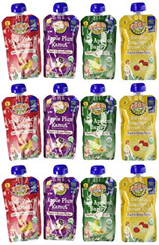 Mejor orgánicos frutas y bolsas de puré de grano 4 sabor variedad Pack de la tierra (Pack de 12)