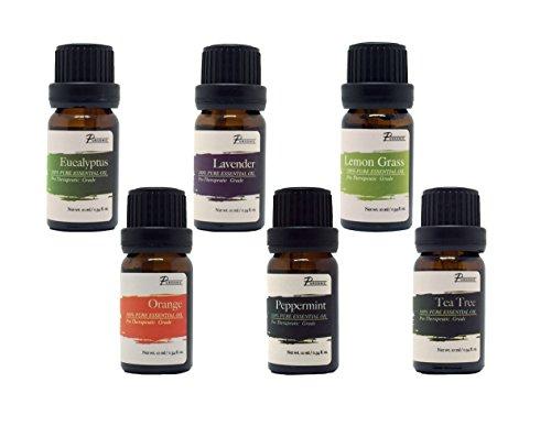 PurSonic 100% puro esenciales aromaterapia aceites regalo conjunto-6 Pack, 10ML (eucalipto, lavanda, limón hierba, naranja, menta, árbol del té)