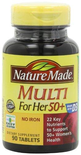 Naturaleza hizo múltiples para sus 50 + múltiples vitaminas y minerales, 90 tabletas (paquete de 3)