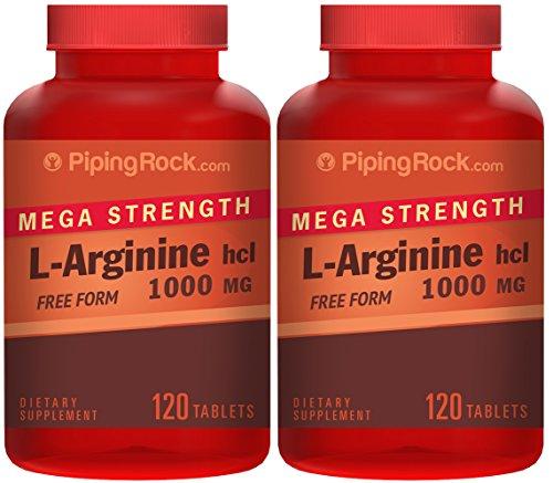 Mega fuerza L-arginina HCL 1000 mg (grado farmacéutico) recubierto de 2 frascos x 120 cápsulas