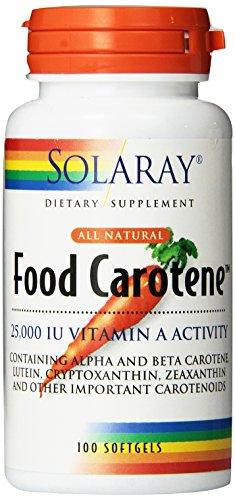 Solaray alimentos betacaroteno cápsulas, 25000 UI, cuenta 100