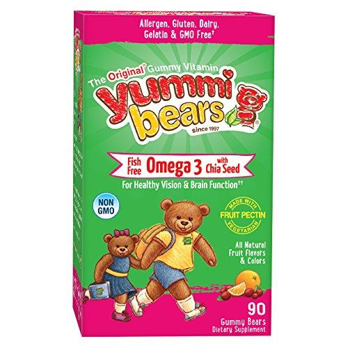 Yummi osos peces gratis Omega 3 con suplemento de semillas de Chia para niños, 90 osos Gummy