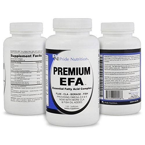 #1 pescado eructos aceite Omega 3 6 9 EPT con EPA DHA CLA GLA lino y borraja - más que pescado aceite Premium EFA 120 pastillas esenciales los ácidos grasos suplemento para pérdida de peso salud del corazón y alivio de la articulación