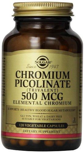 Solgar cromo picolinato cápsulas vegetales, 500 Mcg, cuenta 120