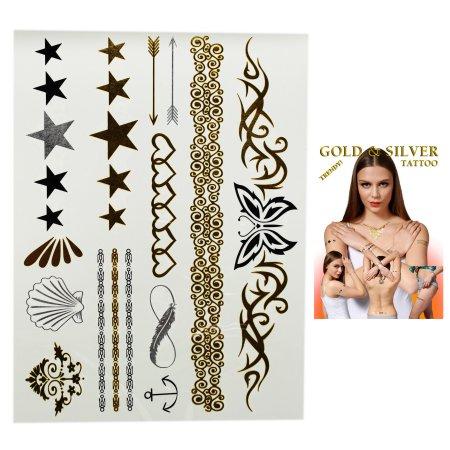 Destello de estrellas tatuajes, conchas y los corazones Surtido Temporary Tattoo s (14 tatuajes)