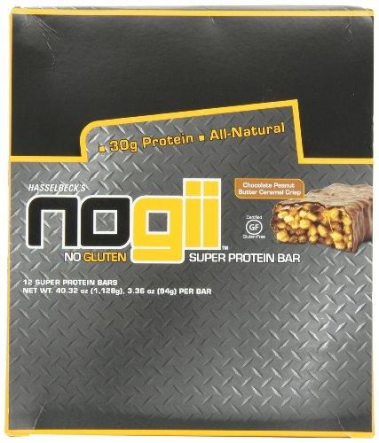 Barras de NoGii Super proteína Bar, Chocolate crujiente de caramelo y PB, de 3,36 oz, ct 12