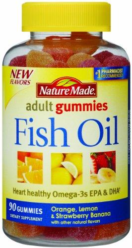 Naturaleza hecha aceite de pescado adulto gomitas, cuenta 90