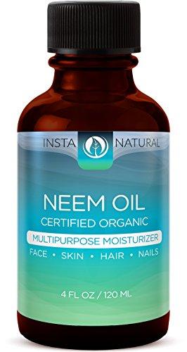 InstaNatural orgánico Neem aceite - para el pelo, cara, piel y cuerpo - mejor 100% puro y certificado orgánico aceite planchado en frío - para acné, uñas, cuero cabelludo seco, puntas abiertas, estrías y más - 4 OZ