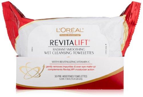 L ' Oreal Paris RevitaLift radiante alisar mojado limpieza toallitas húmedas, 5,9 7,9 X 30 pulgadas cuenta