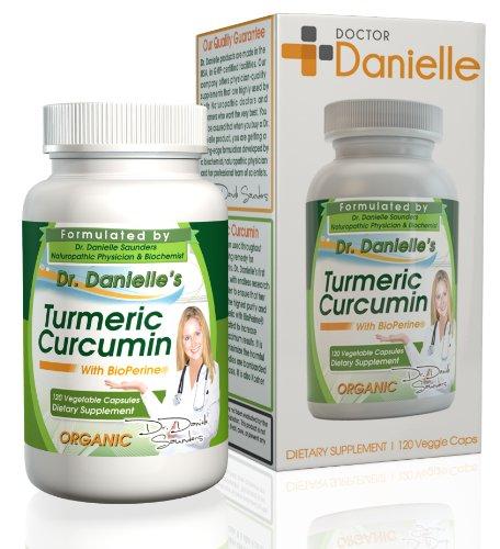 Orgánica curcumina (cúrcuma) con Bioperine ® para más biodisponible, 500mg, 120 cápsulas vegetarianas, sin aglutinantes, No rellenos, sin aditivos, de Dr. Danielle