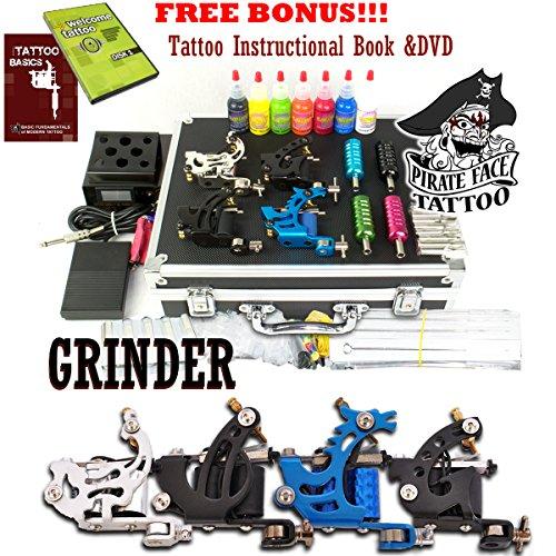 MOLINO completo tatuaje Kit de tatuaje de cara de pirata / 4 tatuaje de ametralladoras - fuente de alimentación 7 tinta de colores radiantes - Made in USA / LCD fuente de alimentación / 50 agujas / PLUS accesorios