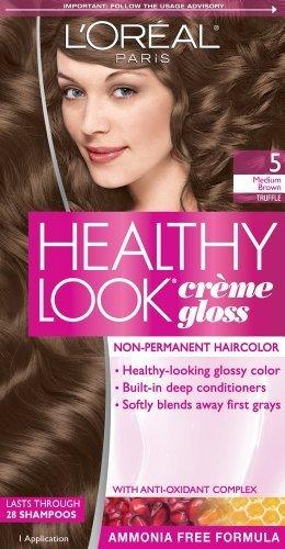 L ' Oreal París aspecto saludable Creme Gloss Color, marrón medio/trufa 5 (paquete de 3)