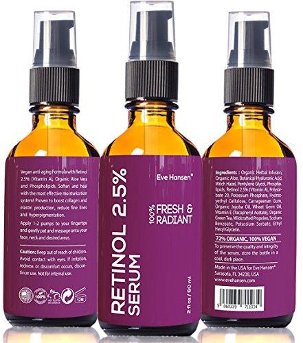 2 oz Retinol 2,5% (vitamina A) - cirugía estética en una botella #3-fórmula 100% vegana Anti Aging Suero ver resultados o devolución del dinero - gran 2 onzas (el doble) arrugas borrado - suavizar la piel al instante!