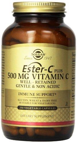 Solgar, Ester C ® más vitamina C de 500 mg, 250 cápsulas vegetales (complejo de ascorbato Ester C ®)