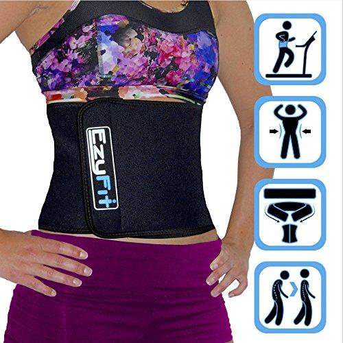 EzyFit ajustable Trimmer cinturón - envoltura de estómago y la espalda Lumbar apoyan - ajuste de curvas, fortalecer abdomen Abs, mejorar postura, correa ancha de 8 pulgadas de quema de grasa de vientre