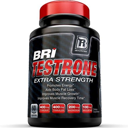 BRI nutrición testosterona Booster - Testrone un suplemento todo Natural con Diindolylmethane, Tongkat Ali, Tribulus Terrestris, magnesio sulfato anhidro, boro y Zinc - 30 días de suministro - 60 cápsulas vegetales