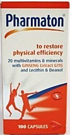 Pharmaton 100 cápsulas multivitamínicas y minerales suplemento con Ginseng para la restauración de la eficacia física