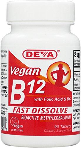 Deva vegana vitaminas Sublingual B-12, 90 tabletas (paquete de 2)