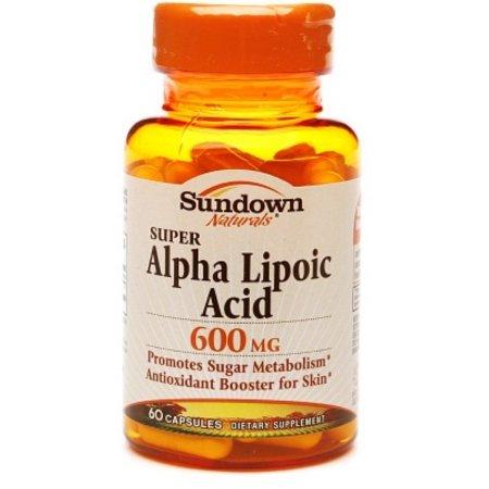 Sundown Naturals Súper ácido alfa lipoico 600 mg cápsulas 60 ea (Pack de 4)