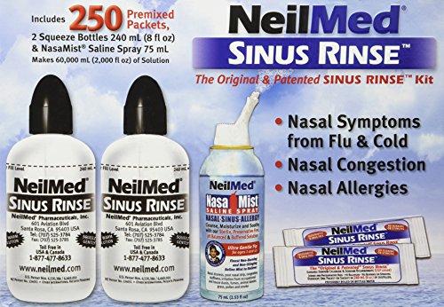 NeilMed Sinus Rinse - 2 botellas - 250 paquetes premezclados y aerosol de solución salina NasaMist, Kit de