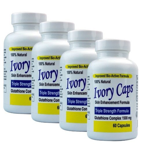 (Paquete de 4) - tapas de Marfil glutatión 1500 pastillas para blanquear de la piel