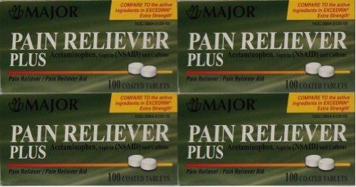 Dolor de cabeza dolor alivio genérico de Excedrin Extra fuerza paracetamol aspirina y cafeína tabletas 100 por el paquete de la botella de 4 400 tabletas Total