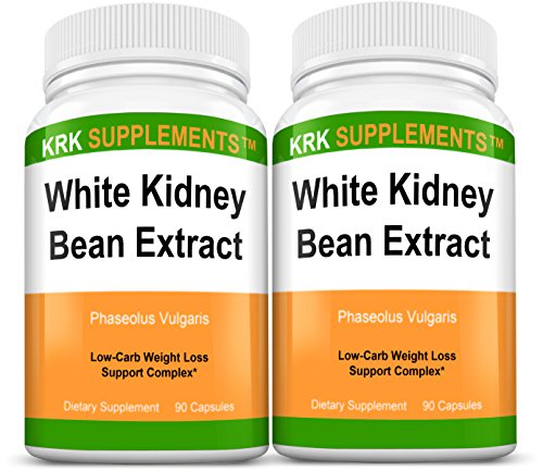 2 botellas blanco haba de riñón extracto 500mg 180 cápsulas Total KRK suplementos