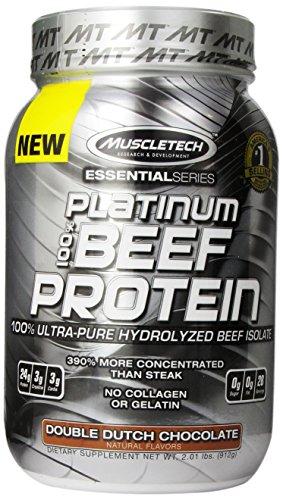 Aislar de proteína de MuscleTech Platinum 100% carne de vacuno, ultra pura carne hidrolizada, Double Dutch Chocolate, 2,01 libras (912 g)