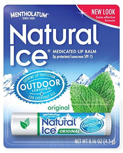 Natural de Mentholatum hielo medicados Lip Protectant SPF 15, Mentholatum 0.16 onzas tubos (paquete de 12)