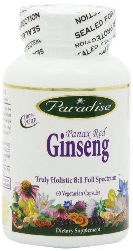 Paraíso de hierbas Ginseng Panax vegetariana cápsulas, rojo, cuenta 60