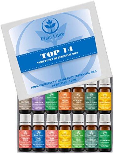 Paquete de Set-14 variedad de aceites esenciales - 100% puro grado terapéutico 10 ml. Set incluye - (bergamota, salvia, corteza de cinamomo, eucalipto, pomelo, lavanda, limón, Lima, pachuli, menta, Romero, menta, naranja dulce y árbol del té)