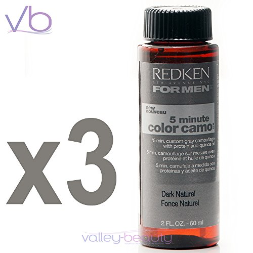 Redken para hombres 5 minutos Color Camo - oscuro Natural 3 botellas 2oz