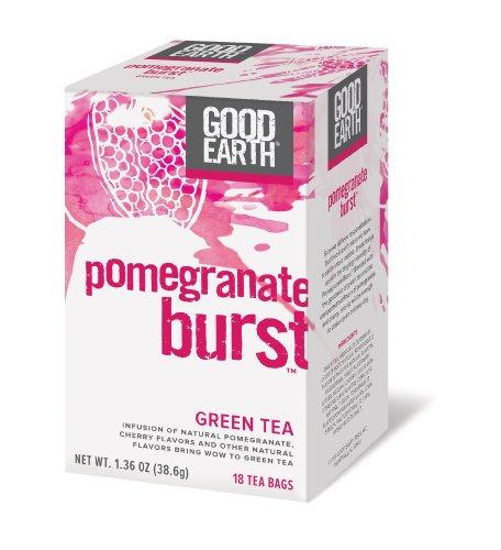 Buena tierra Granada estalló el té verde, 18 bolsitas de té de Count (paquete de 6)