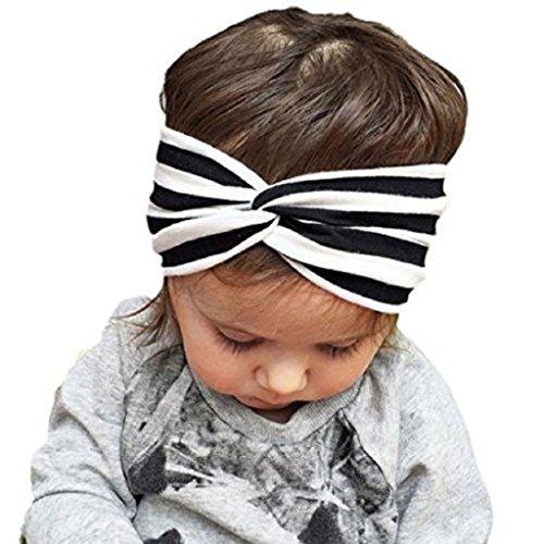 FEITONG(TM) 2015 nuevo bebé niñas elástica raya Cruz Linda hermosa diadema bebé accesorios para el cabello (negro)
