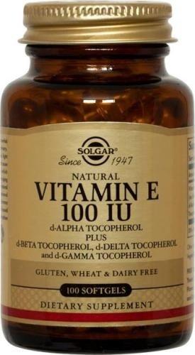 Solgar vitamina E 100 IU mixta D-alfa tocoferol y cápsulas de mezcla de tocoferoles, cuenta 100