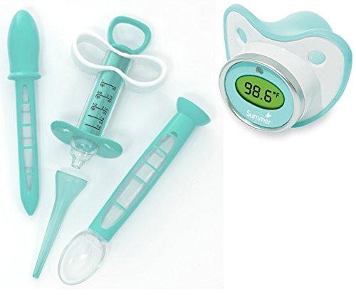 Kit de dispensador de medicina infantil de verano con termómetro chupete