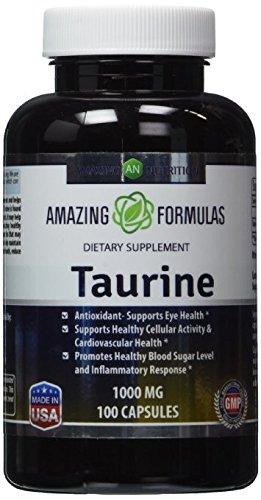 Del aminoácido Taurina 1000 Mg 100 cápsulas - grado farmacéutico - antioxidante de increíble nutrición