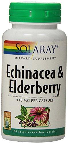 Solaray equinácea y cápsulas de la baya del saúco, 440 mg, cuenta 100