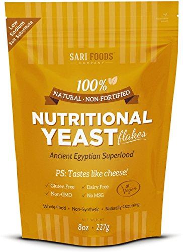 Sari alimentos copos de levadura nutricional Natural no fortificada, 8 oz.