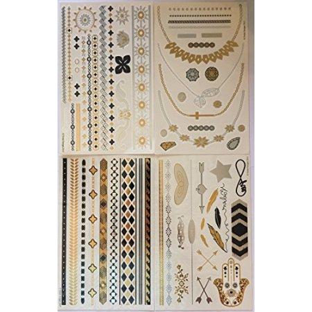 Tatuajes temporales metálicos (4 diferentes hojas) - Hermosa flash del tatuaje y el arte de cuerpo - Negro, plata y oro tatuaje joyas, anillos, flechas, bandas, collares, plumas, joyas y más | Twink Designs