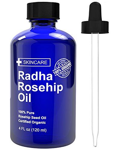 Belleza de Radha aceite de rosa mosqueta - 100% puro frío presionado certificada orgánica 4 fl. oz. - mejor crema hidratante para sanar líneas de piel fina y seca - Virgen rosa mosqueta semilla aceite para la cara y la piel