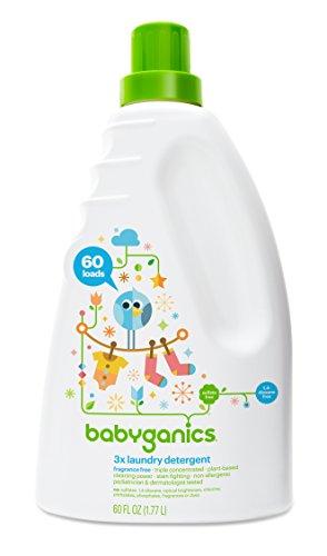 Babyganics 3 X detergente de bebé, sin perfume, 60 onza líquida