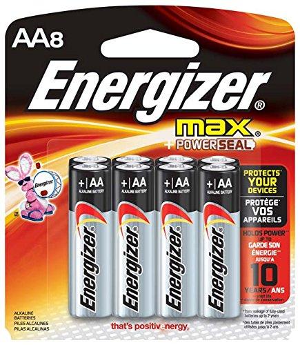 Energizer Max AA alcalinas, paquete de 8-cuenta
