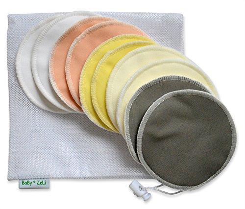 Enfermería de bambú orgánicos cojines (paquete de 10) con bolsa de lavandería por bebé Zeli - Ultra suave, cojines de lactancia reutilizables, hipoalergénico y lavable