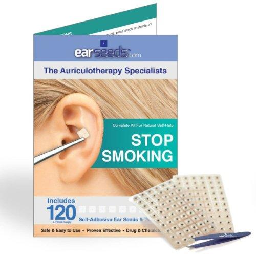 Dejar de fumar oreja semilla oído Kit-120 semillas, pinzas de acero inoxidable de EarSeeds.com