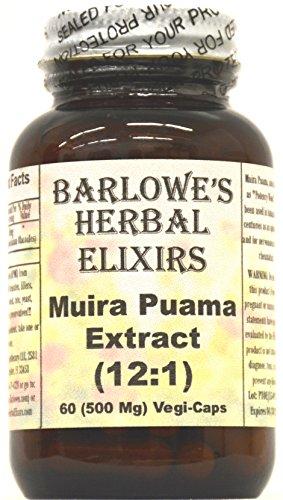 Muira Puama Extracto 12:1 - 60 VegiCaps de 500 mg - estearato gratis, embotellado en vidrio